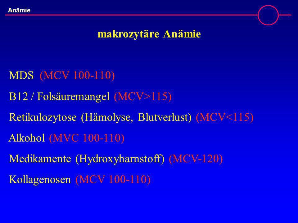 B12 / Folsäuremangel (MCV>115)