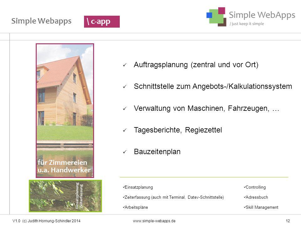 Simple Webapps \ c-app Auftragsplanung (zentral und vor Ort)