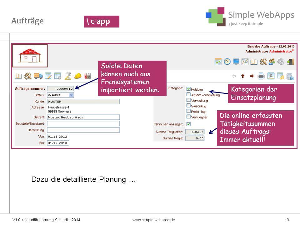 Aufträge \ c-app Dazu die detaillierte Planung …