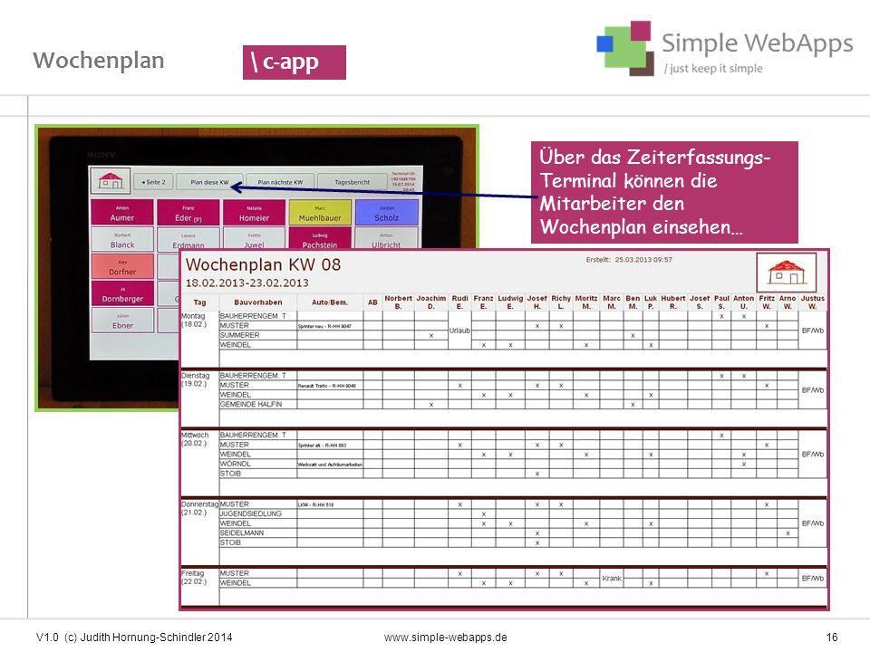 Wochenplan \ c-app. Über das Zeiterfassungs-Terminal können die Mitarbeiter den. Wochenplan einsehen…