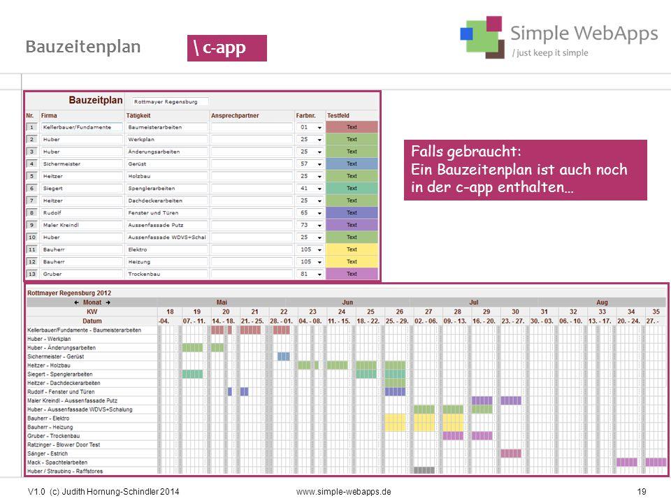 Bauzeitenplan \ c-app. Falls gebraucht: Ein Bauzeitenplan ist auch noch in der c-app enthalten…