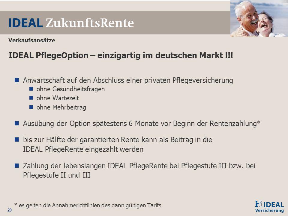 IDEAL PflegeOption – einzigartig im deutschen Markt !!!
