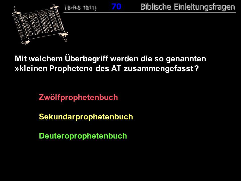 Sekundarprophetenbuch Deuteroprophetenbuch