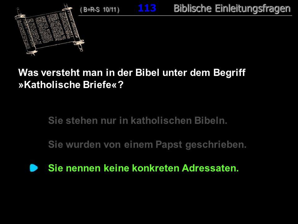 Was versteht man in der Bibel unter dem Begriff »Katholische Briefe«