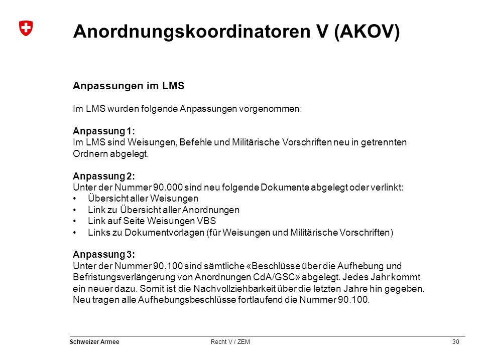 Anpassungen im LMS Im LMS wurden folgende Anpassungen vorgenommen: