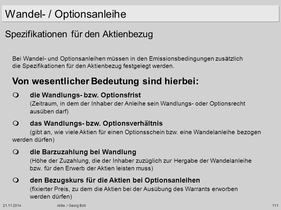 Wandel- / Optionsanleihe