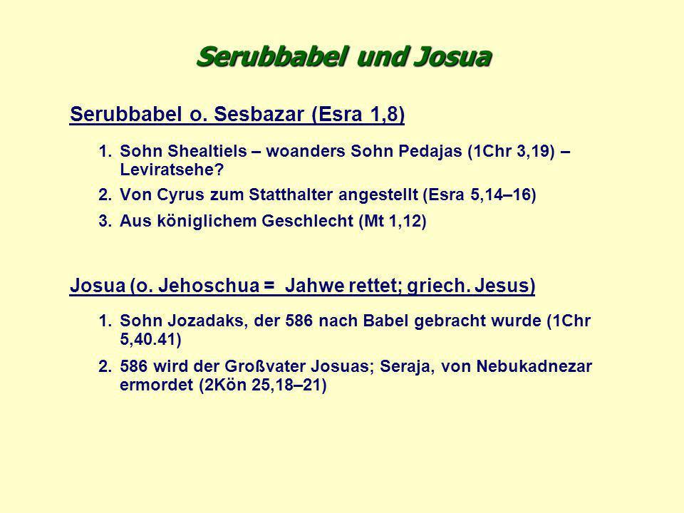Serubbabel und Josua Serubbabel o. Sesbazar (Esra 1,8)