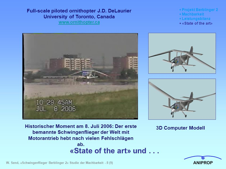 Projekt Berblinger 2 Machbarkeit. Leistungsbilanz. «State of the art» Full-scale piloted ornithopter J.D. DeLaurier.