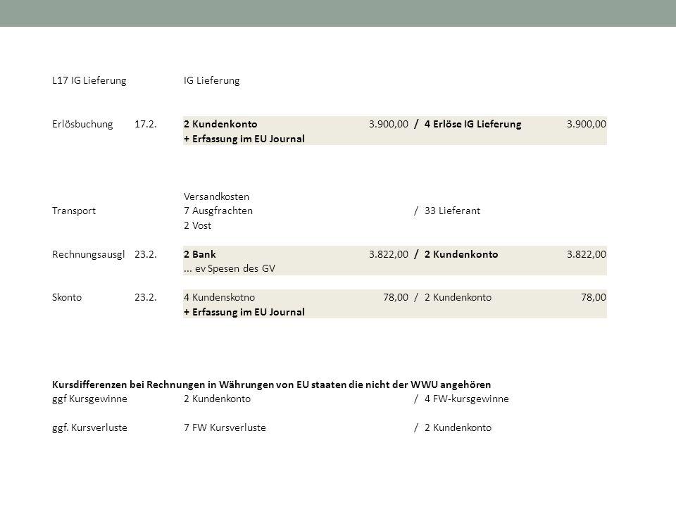 L17 IG Lieferung IG Lieferung. Erlösbuchung. 17.2. 2 Kundenkonto. 3.900,00. / 4 Erlöse IG Lieferung.