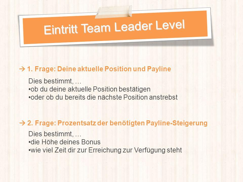 Eintritt Team Leader Level