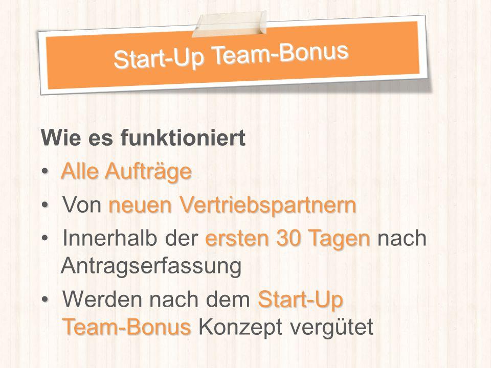 Start-Up Team-Bonus Wie es funktioniert Alle Aufträge
