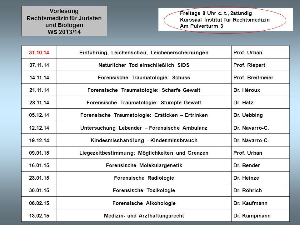 Rechtsmedizin für Juristen und Biologen WS 2013/14
