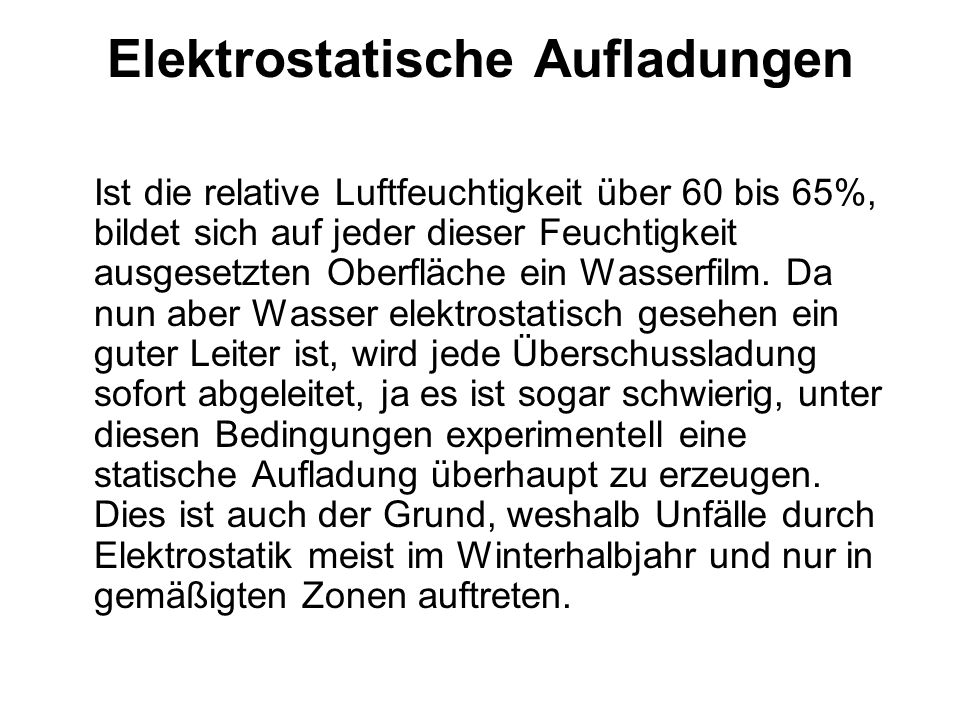 Elektrostatische Aufladungen