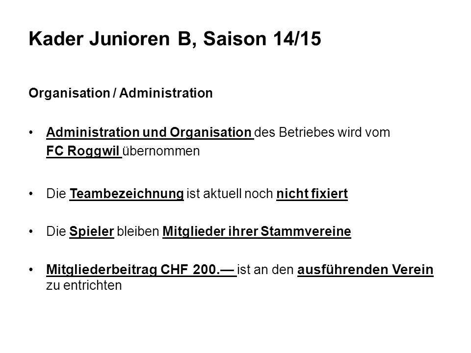 Kader Junioren B, Saison 14/15
