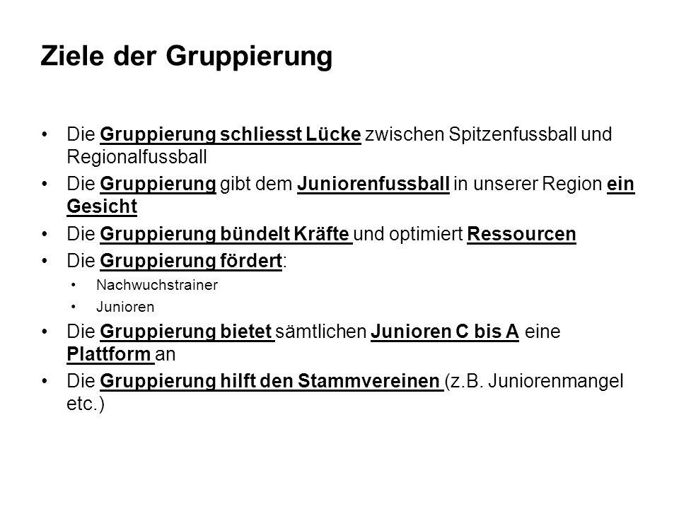Ziele der Gruppierung Die Gruppierung schliesst Lücke zwischen Spitzenfussball und Regionalfussball.