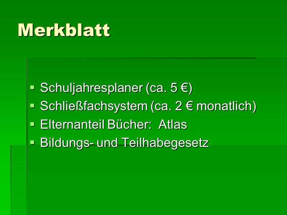 Merkblatt Schuljahresplaner (ca. 5 €)