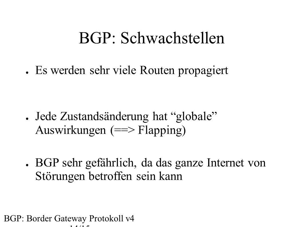 BGP: Schwachstellen Es werden sehr viele Routen propagiert