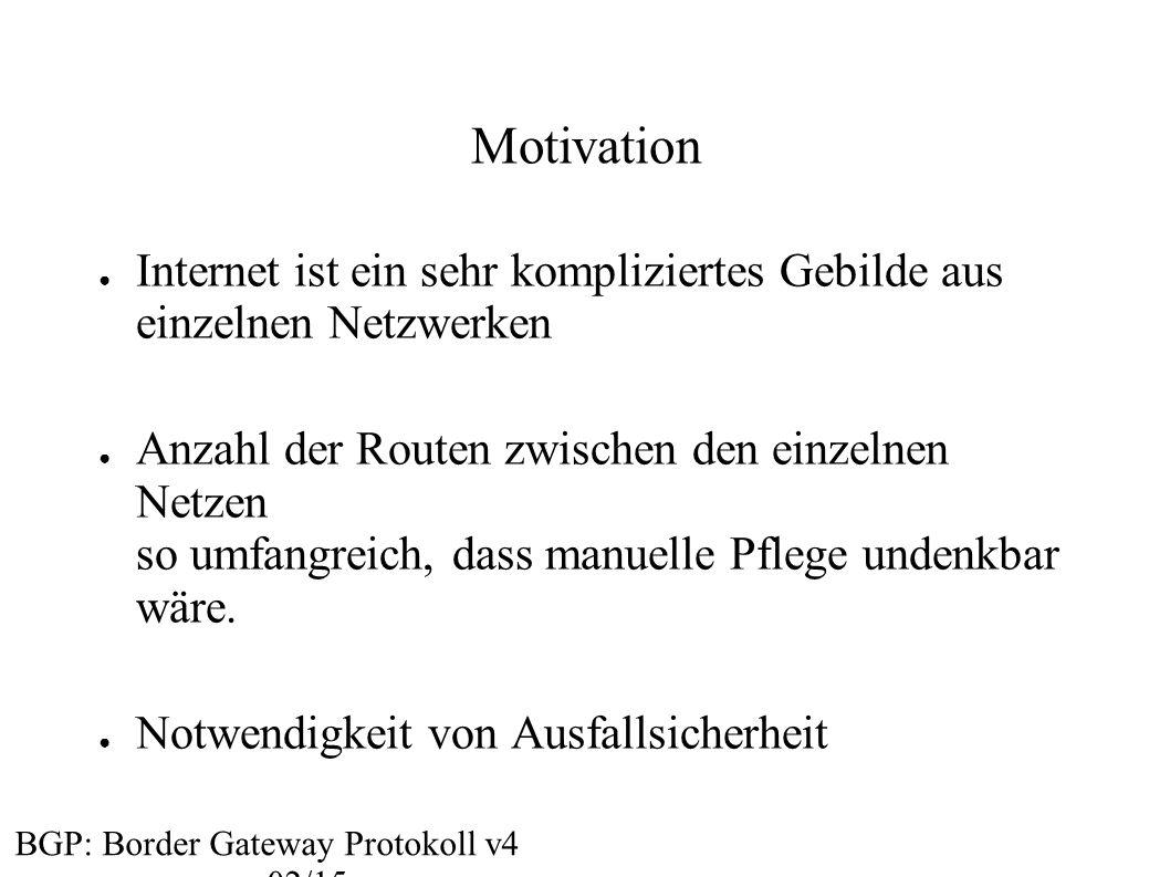 Motivation Internet ist ein sehr kompliziertes Gebilde aus einzelnen Netzwerken.
