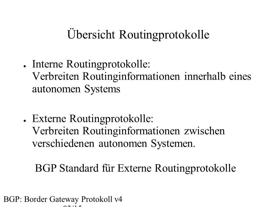 Übersicht Routingprotokolle