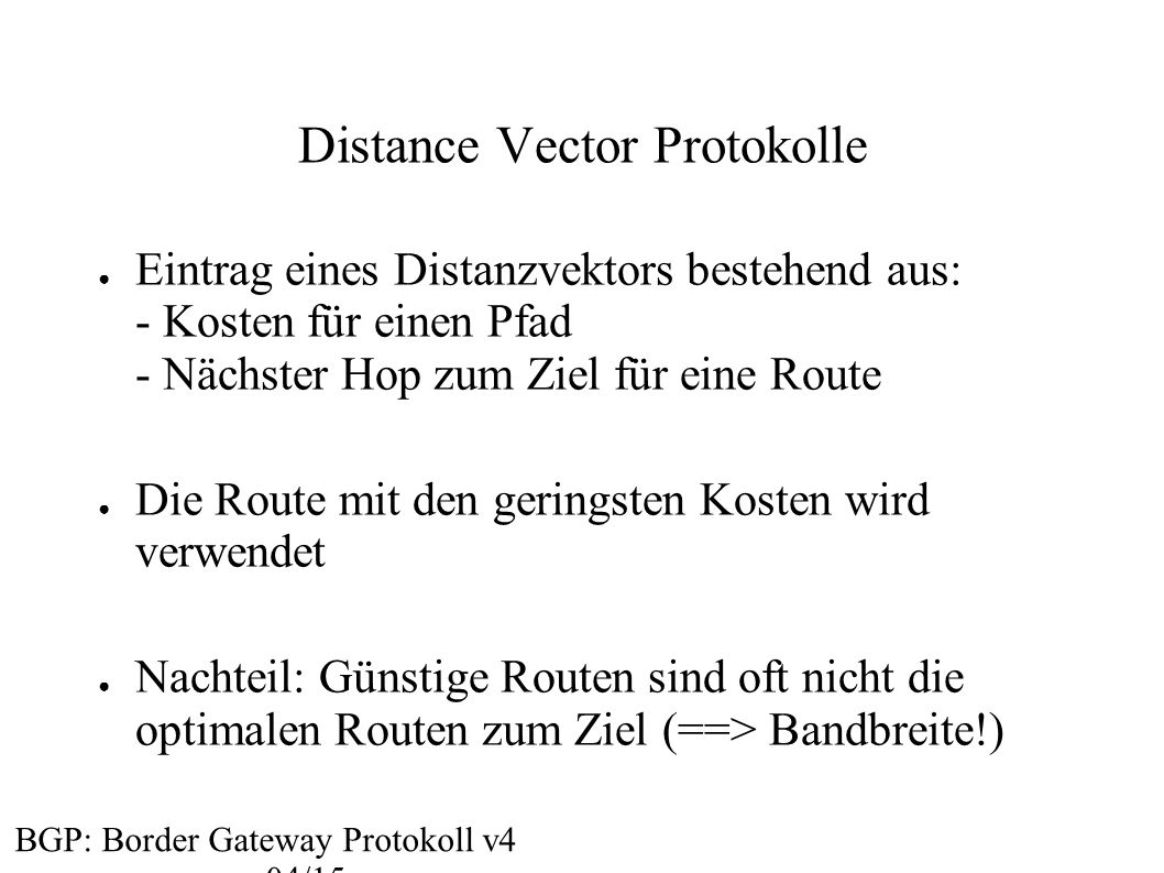 Distance Vector Protokolle