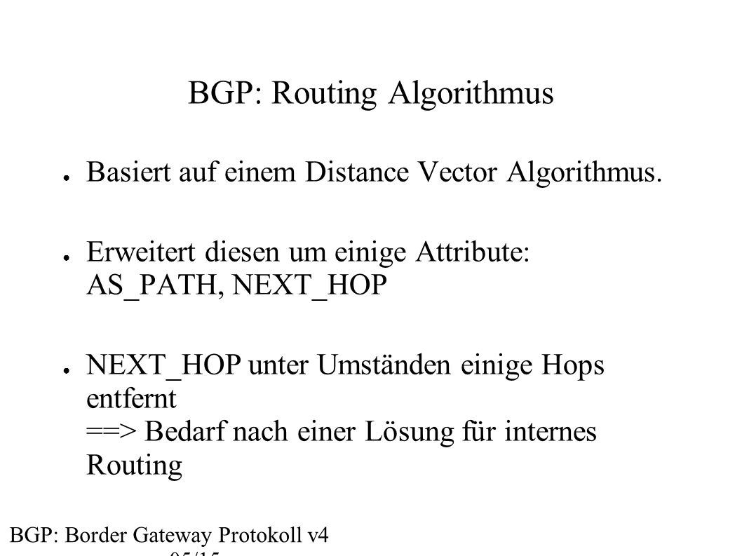 BGP: Routing Algorithmus