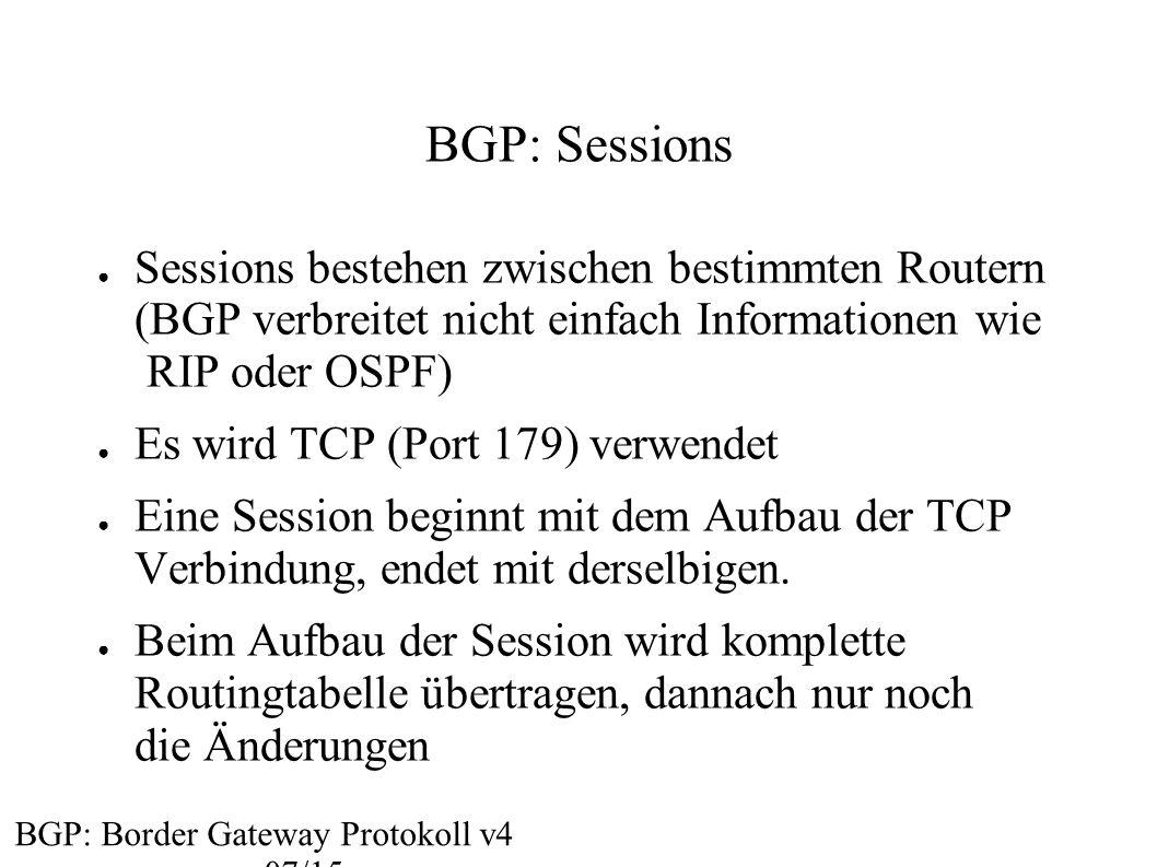 BGP: Sessions Sessions bestehen zwischen bestimmten Routern (BGP verbreitet nicht einfach Informationen wie RIP oder OSPF)