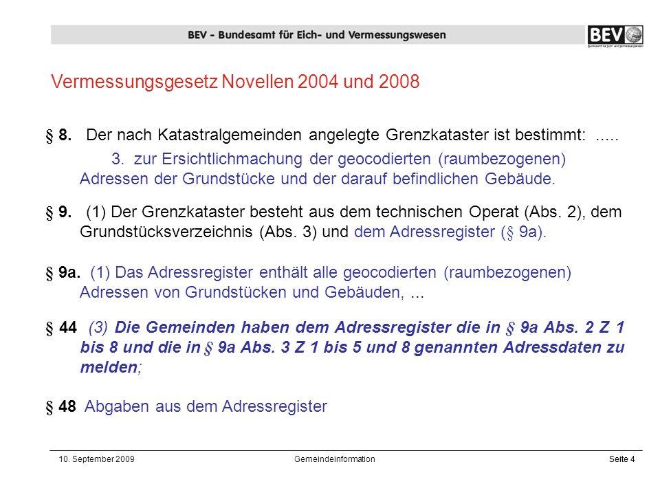 Vermessungsgesetz Novellen 2004 und 2008