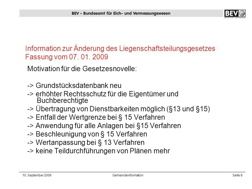 Information zur Änderung des Liegenschaftsteilungsgesetzes