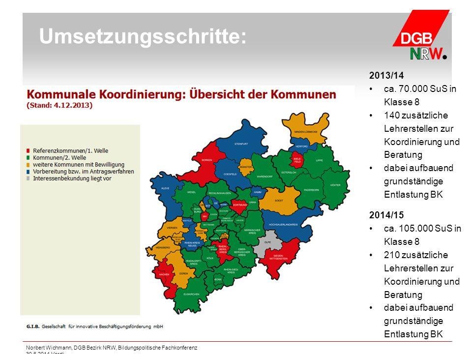 Umsetzungsschritte: 2013/14 ca. 70.000 SuS in Klasse 8