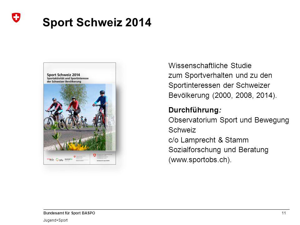 Sport Schweiz 2014 Wissenschaftliche Studie zum Sportverhalten und zu den Sportinteressen der Schweizer Bevölkerung (2000, 2008, 2014).