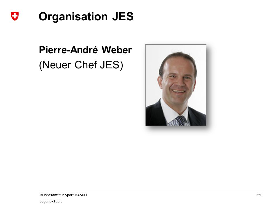 Organisation JES Pierre-André Weber (Neuer Chef JES)