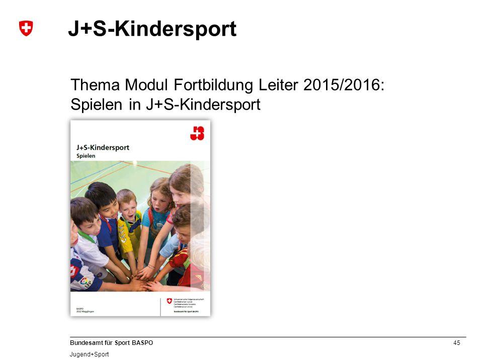 J+S-Kindersport Thema Modul Fortbildung Leiter 2015/2016: Spielen in J+S-Kindersport