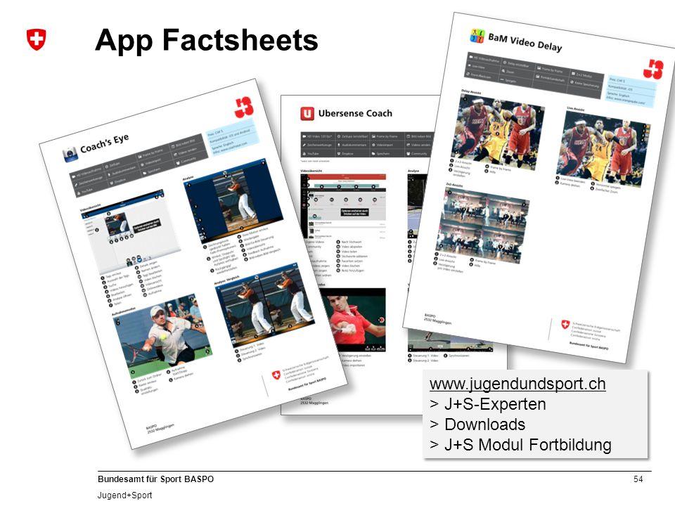 App Factsheets www.jugendundsport.ch > J+S-Experten > Downloads