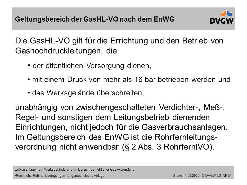 Geltungsbereich der GasHL-VO nach dem EnWG