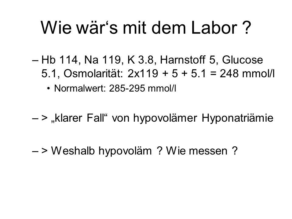 Wie wär's mit dem Labor Hb 114, Na 119, K 3.8, Harnstoff 5, Glucose 5.1, Osmolarität: 2x119 + 5 + 5.1 = 248 mmol/l.