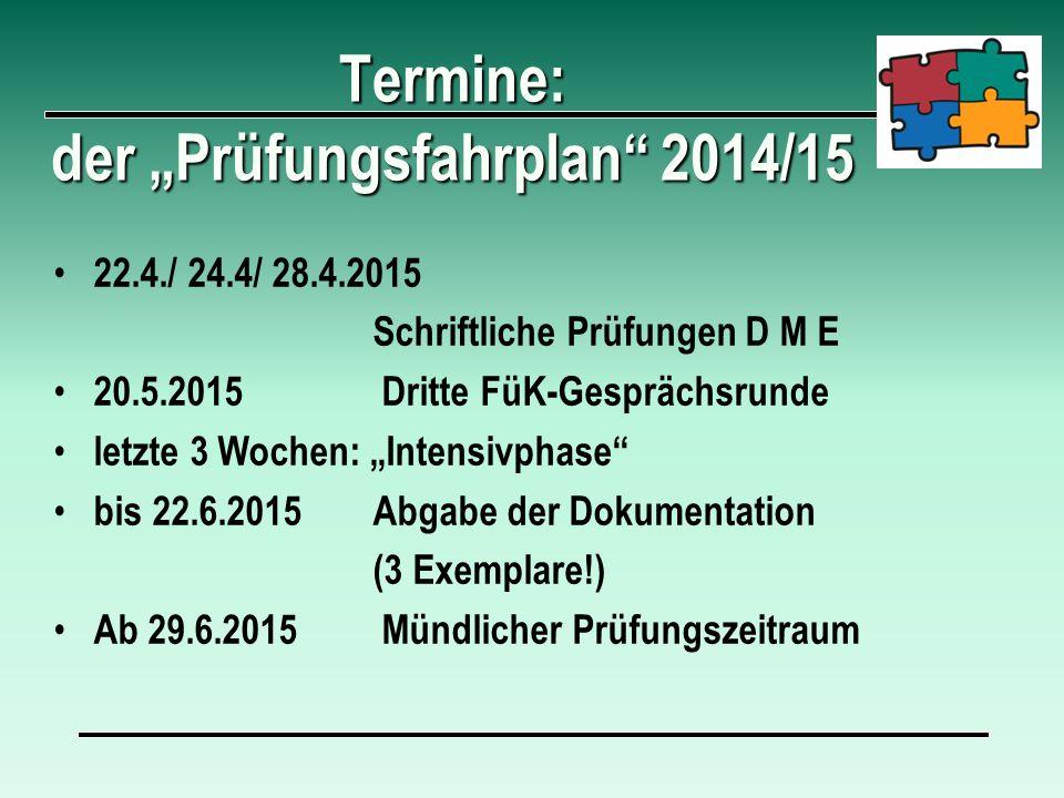 """Termine: der """"Prüfungsfahrplan 2014/15"""