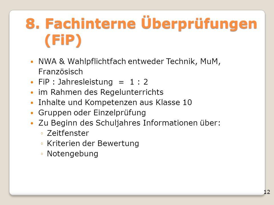 8. Fachinterne Überprüfungen (FiP)