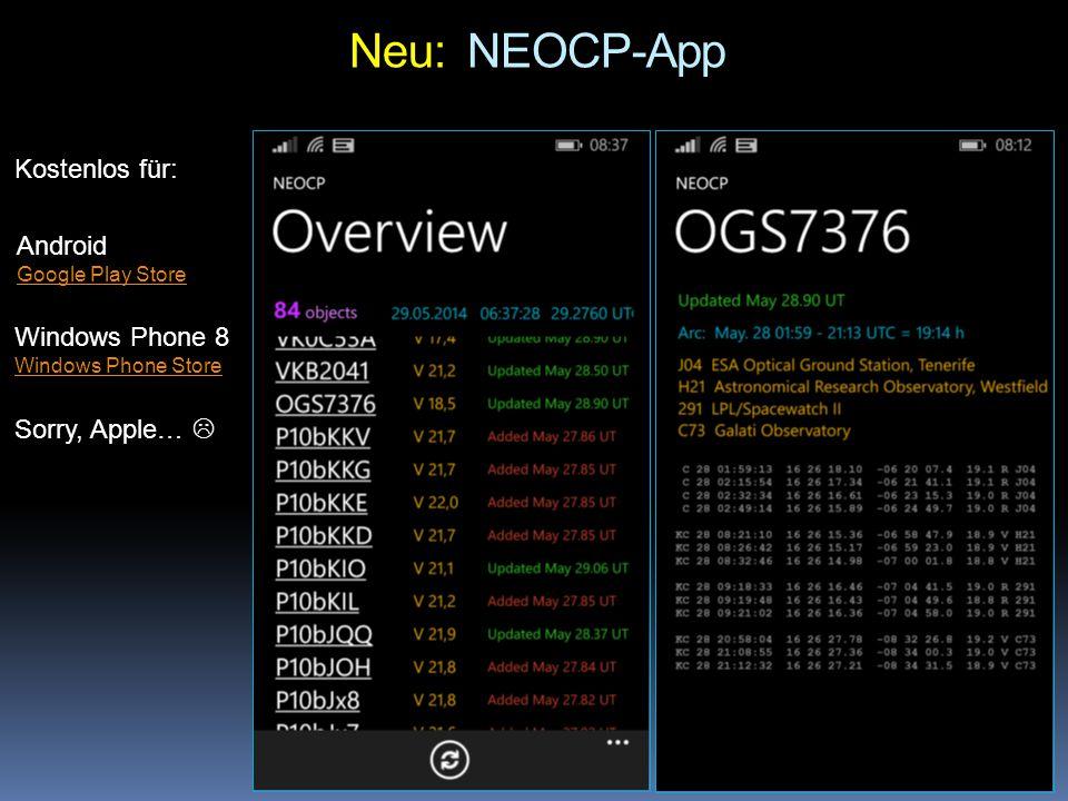Neu: NEOCP-App Kostenlos für: Android