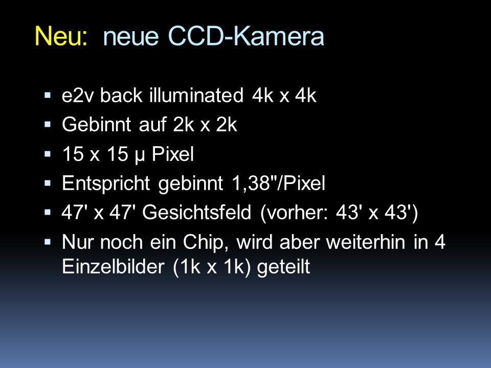 Neu: neue CCD-Kamera e2v back illuminated 4k x 4k Gebinnt auf 2k x 2k
