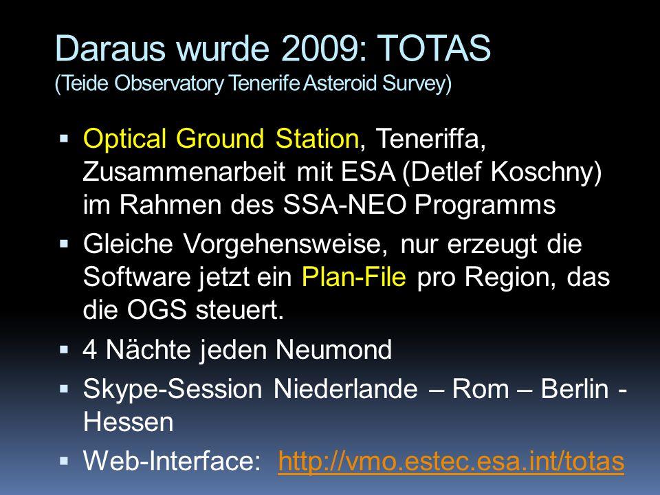 Daraus wurde 2009: TOTAS (Teide Observatory Tenerife Asteroid Survey)