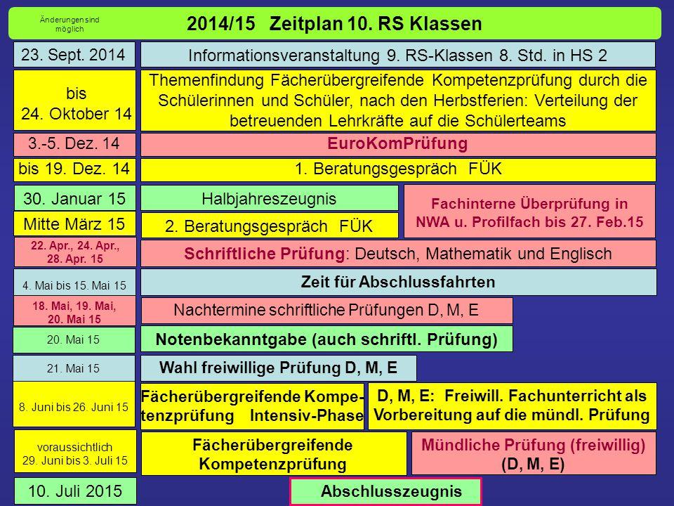 2014/15 Zeitplan 10. RS Klassen Änderungen sind möglich. 23. Sept. 2014. Informationsveranstaltung 9. RS-Klassen 8. Std. in HS 2.