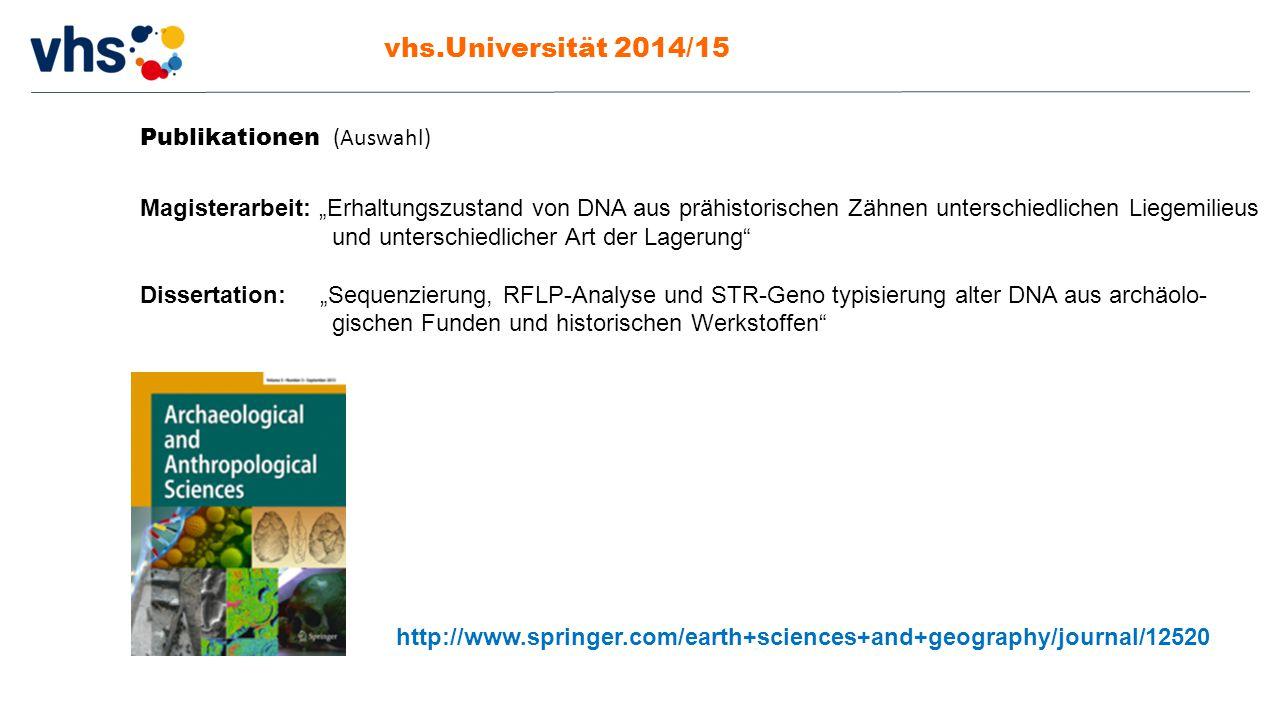 vhs.Universität 2014/15 Publikationen (Auswahl)