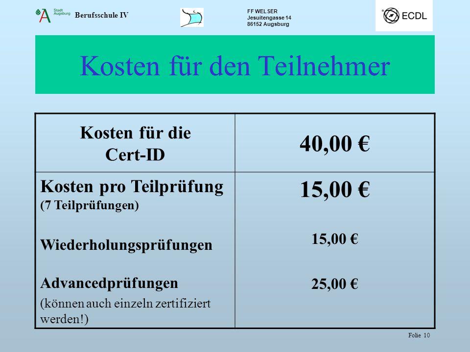 Kosten für den Teilnehmer
