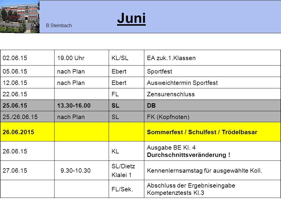 Juni 02.06.15 19.00 Uhr KL/SL EA zuk.1.Klassen 05.06.15 nach Plan