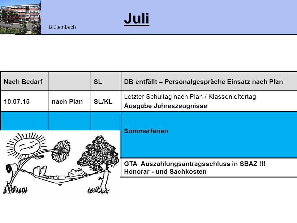 Juli Nach Bedarf SL DB entfällt – Personalgespräche Einsatz nach Plan