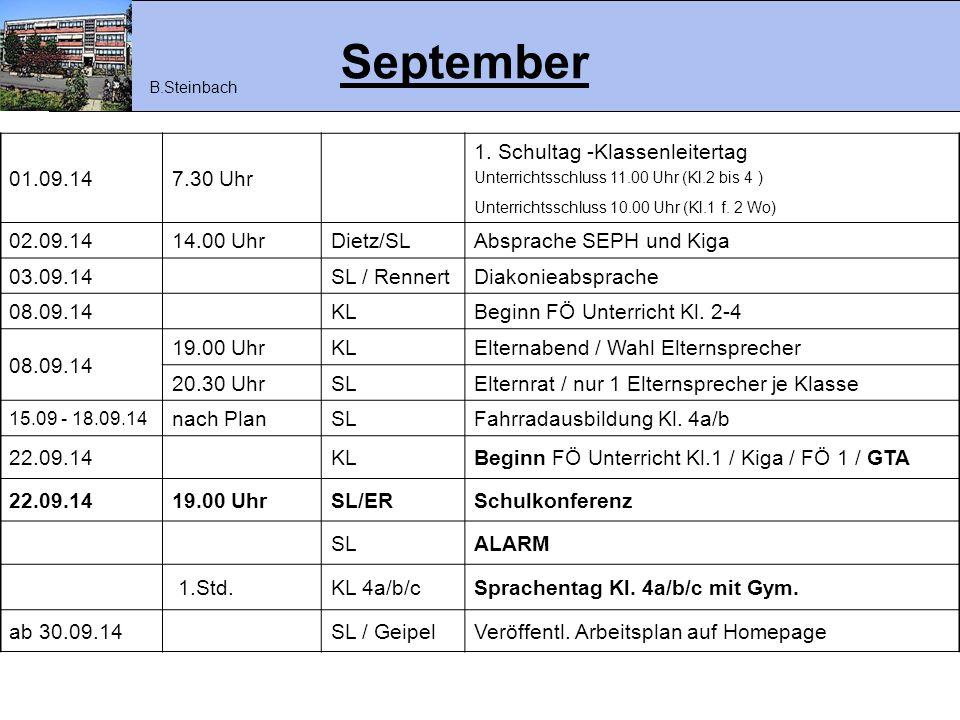 September 01.09.14 7.30 Uhr 1. Schultag -Klassenleitertag 02.09.14