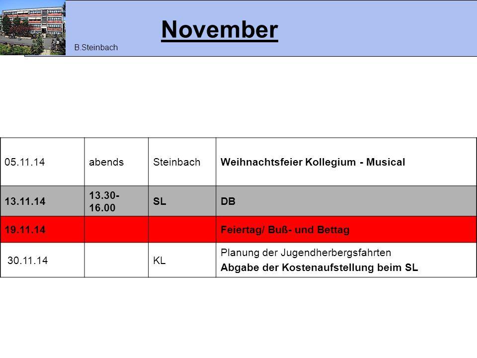 November 05.11.14 abends Steinbach Weihnachtsfeier Kollegium - Musical