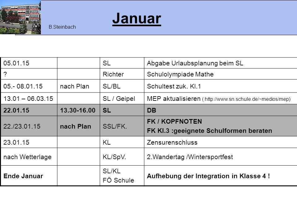 Januar 05.01.15 SL Abgabe Urlaubsplanung beim SL Richter
