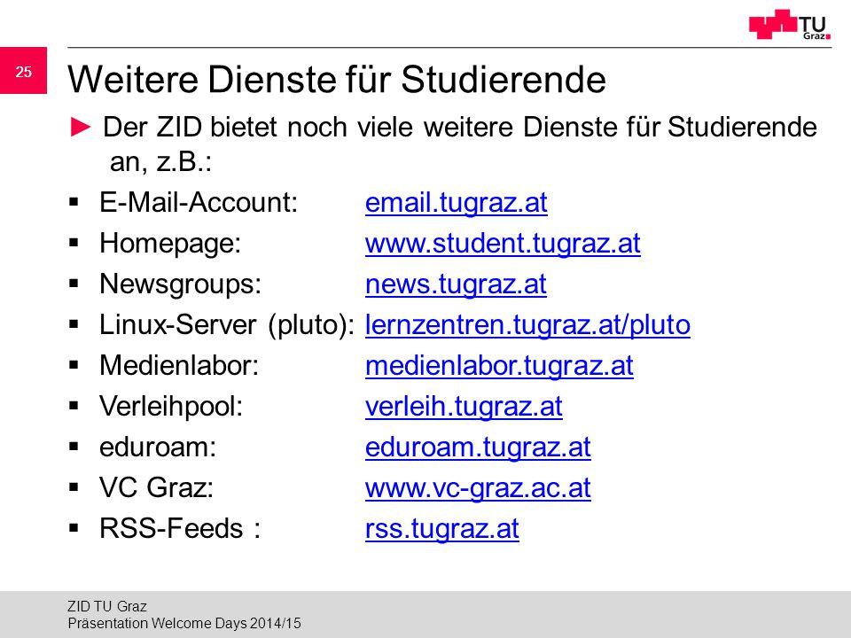 Weitere Dienste für Studierende