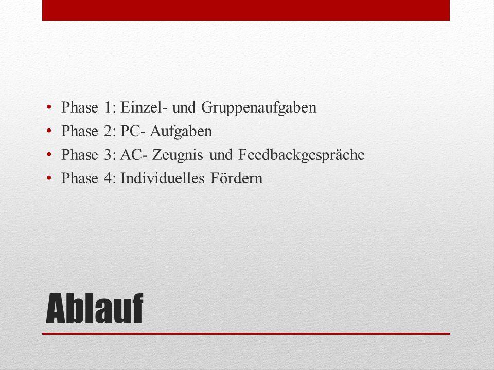 Ablauf Phase 1: Einzel- und Gruppenaufgaben Phase 2: PC- Aufgaben